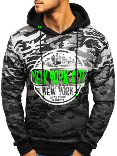 Kapuzenpullover Sweatshirt Pulli Sport Print Hoodie Camo Herren BOLF 1A1 Motiv
