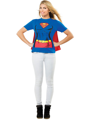 Adult Licensed Supergirl T Tee Shirt Fancy Dress Costume Ladies Women Bn Jade Weiß