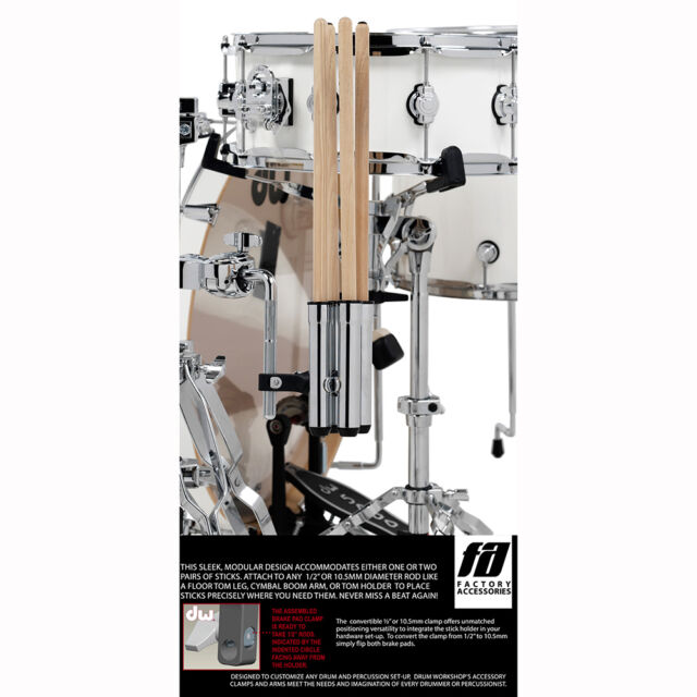 Black NEW Stagg SCL-DSH1 Single Pair Drum Stick Holder with Clamp