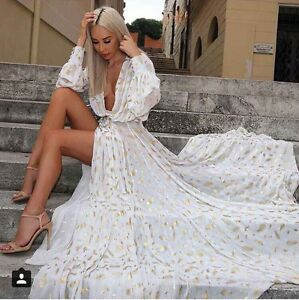 White Sexy See Thru Long Dress Maxi Gown Long Sleeves