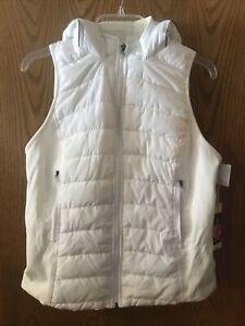 NWT Womens TANGERINE White Full Zip Hoody Vest Size Small