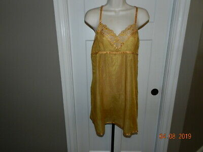 Teddies Women's Clothing Nwt Victoria's Secret Sexy Ribbon Strappy Lace Up Gold Slip Gown L A Plastic Case Is Compartmentalized For Safe Storage
