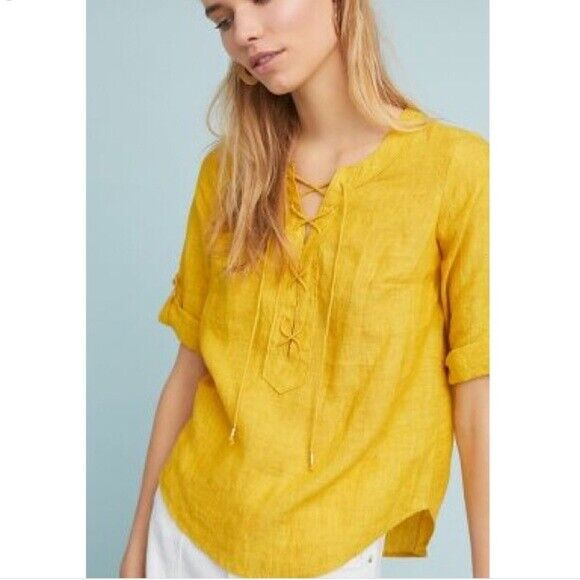 NWT ANTHROPOLOGIE MAEVE 100% LINEN LACE UP BLOUSE TOP SHIRT TUNIC Gold Gelb 8