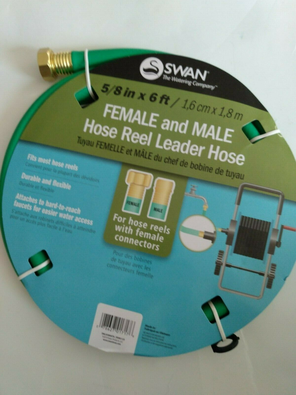 Swan Hose Reel Leader Hose with Male and Female Connection, Green