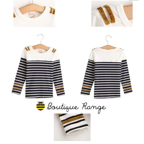 Kids Todder Cotton Long Sleeve GOLD BLACK Stripes Smart Top Cute 2-7Y