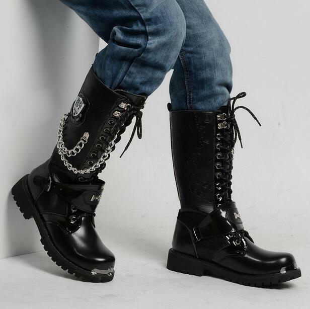 Mens PU Vintage Motorcycle Knee High Boots Military Punk Chains Black Shoes