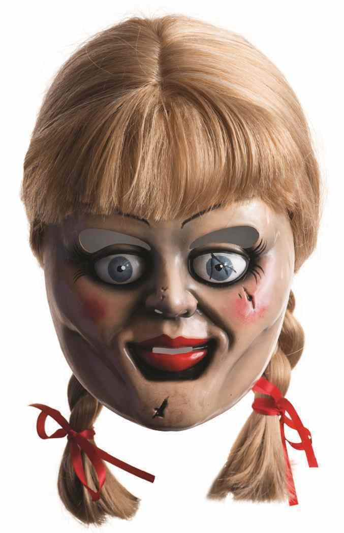 Annabelle Mask & Wig Movie Doll Fancy Dress Up Halloween Adult Costume Accessory