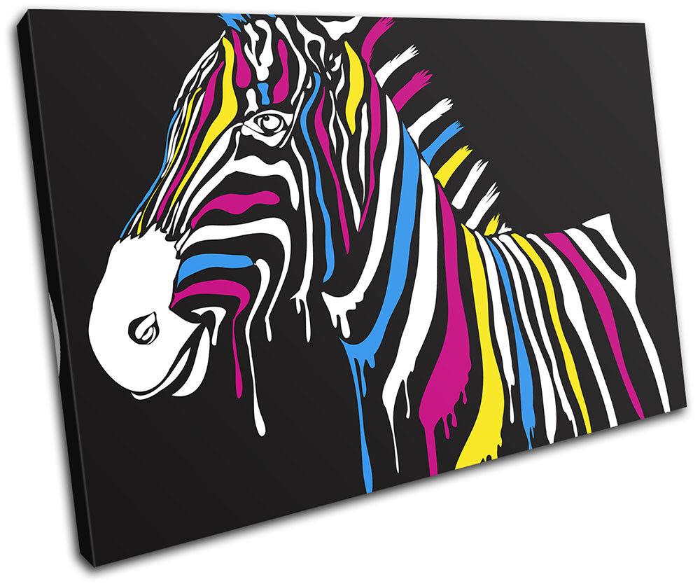 Abstract Zebra Rainbow Paint Paint Paint Animals SINGLE TELA parete arte foto stampa 5a905c