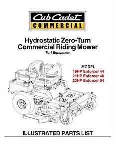 Cub Cadet Hydrostatic Zero-Turn Riding Mower Parts Manual Model #.ZFORCE 44 DIY Tools & Workshop Equipment Home, Furniture & DIY
