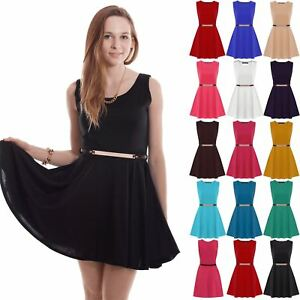 87466433642 Image is loading Womens-Ladies-Sleeveless-Flared-Franki-Gold-Belted-Party-