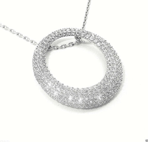 RHODIUM PLATED 925 HALLMARKED SILVER PAVE SET CIRCLE OF LIFE PENDANT /& CHAIN
