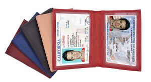 Genuine-Leather-2-ID-Holder-Credit-Card-Business-Card-Mens-Front-Pocket-Wallet