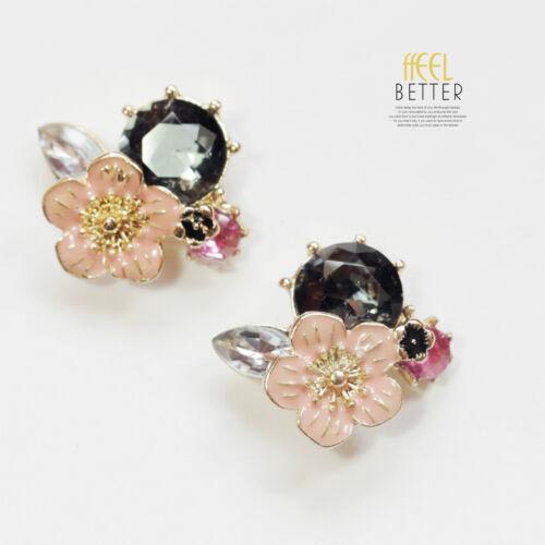 Boucles d/'Oreilles Clous Puces Doré Fleur Rose Email Gris Retro Class L2