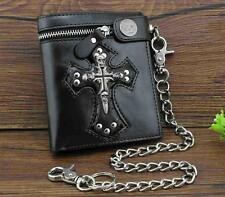 Punk Skulls Cross Money Men's Black Leather Zipper Wallet With A Chain Cool