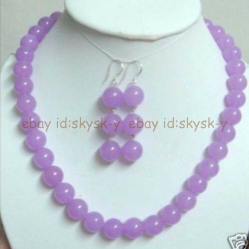 Charming 10mm Purple Jade Necklace and Earring Set 18/'' Inch