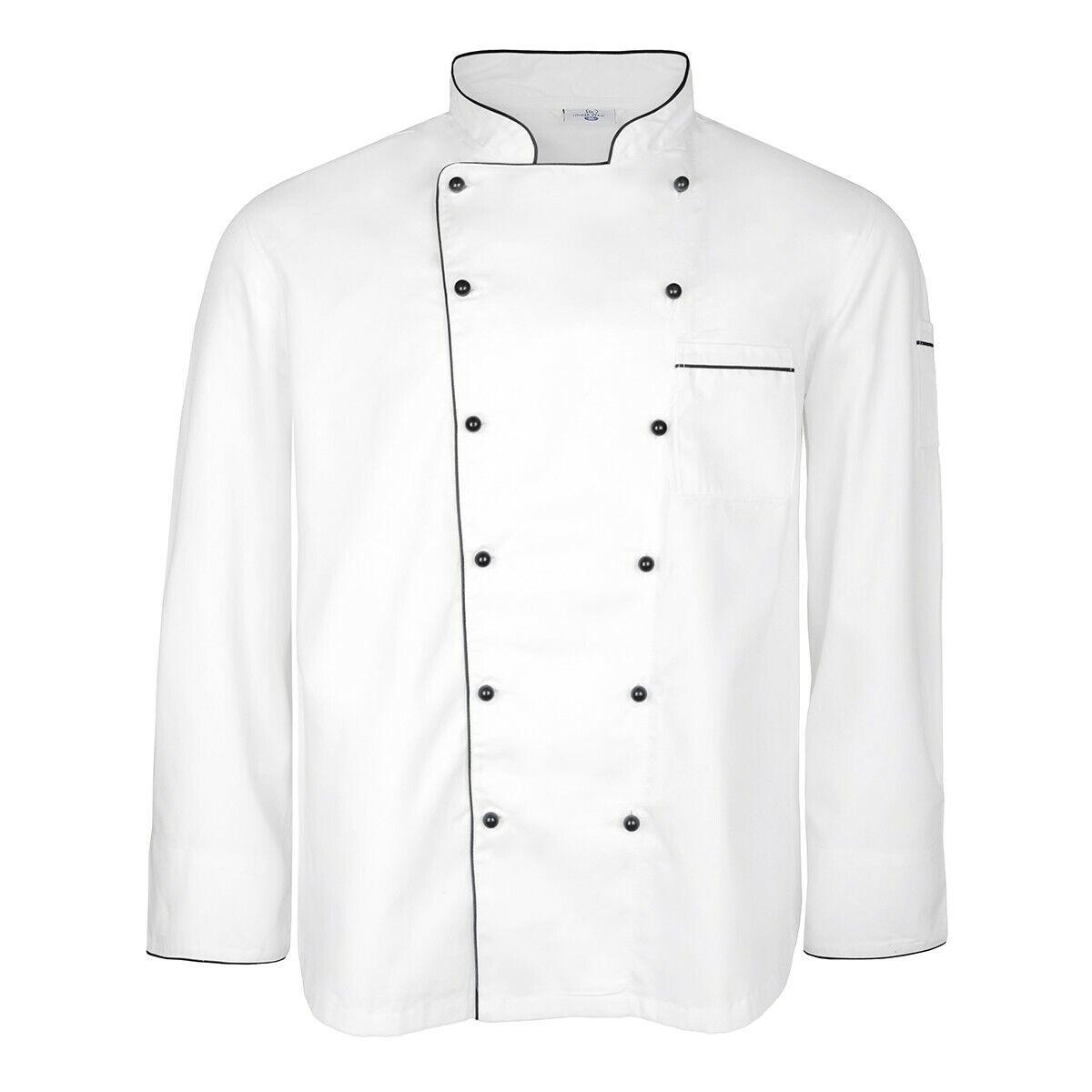 XXL m&s Chef Veste Blanc Avec Noir Passepoil