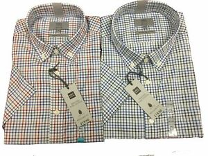 Ex-M-amp-S-Short-Sleeve-Shirt-Peached-Pure-Cotton-Checked