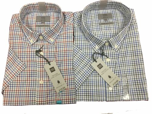 Ex M/&S Short Sleeve Shirt Peached Pure Cotton Checked
