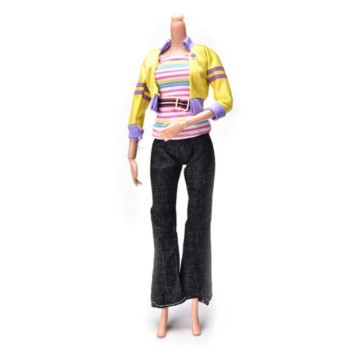 3 Pcs//set Fashion Handmade Yellow Coat Black Pant Rainbow Vest for s `