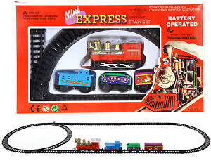 Miniatur-Eisenbahn-Mini-Zug-komplettset-Kreis-Oval-Weiche-Batterie-11-Tlg