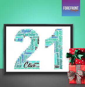 Image Is Loading Personalised Word Art Print Perfect 21st Birthday Celebration
