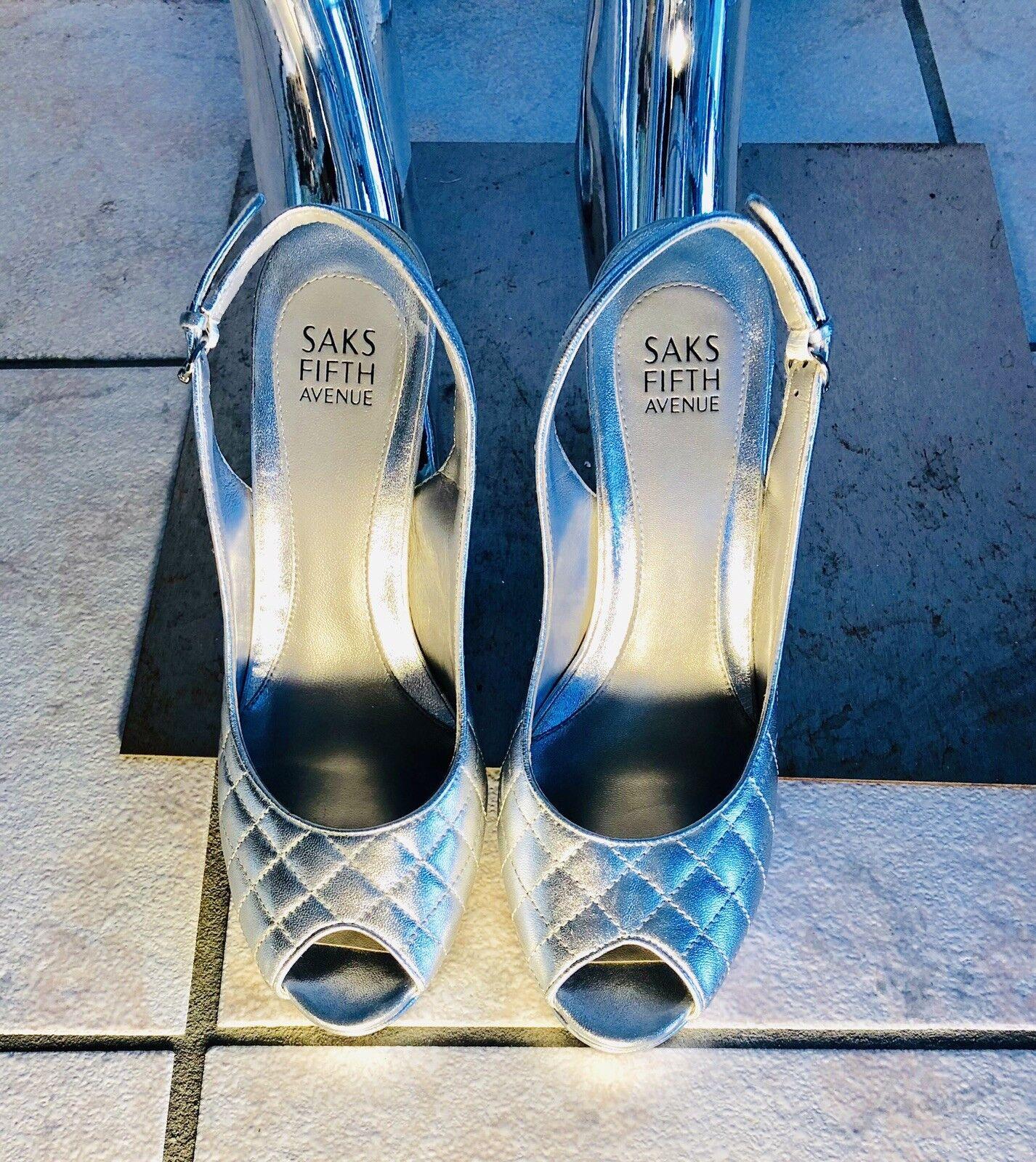 Saks Fifth Avenue Acolchado De Plata De Cuero Cuero Cuero Zapatos De Plataforma  venta mundialmente famosa en línea