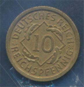 German-Empire-Jagerno-317-1925-F-ext-fine-10-reich-pfennig-spikes-7879593