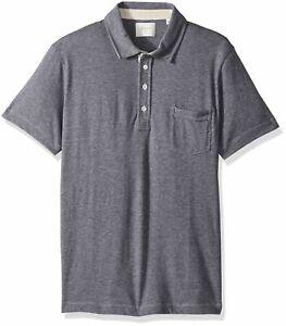 Billy-Reid-Men-039-s-Short-Sleeve-Pensacola-Polo-Shirt-With-Pocket-Navy-size-S