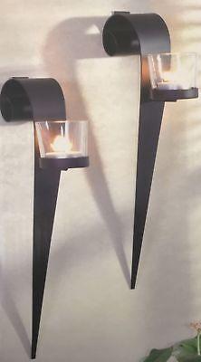 2er set dekorative wandkerzenhalter aus metall f r. Black Bedroom Furniture Sets. Home Design Ideas