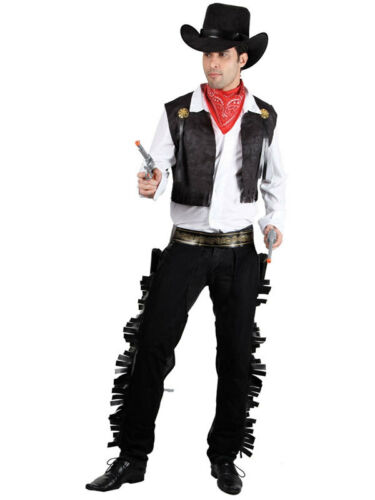 Mens Adults Black Western Cowboy Stag Night Fancy Dress Costume Wild West S XL