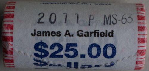 2011 P James A Garfield Uncirculated One Dollar 25 Golden Coin Roll $1