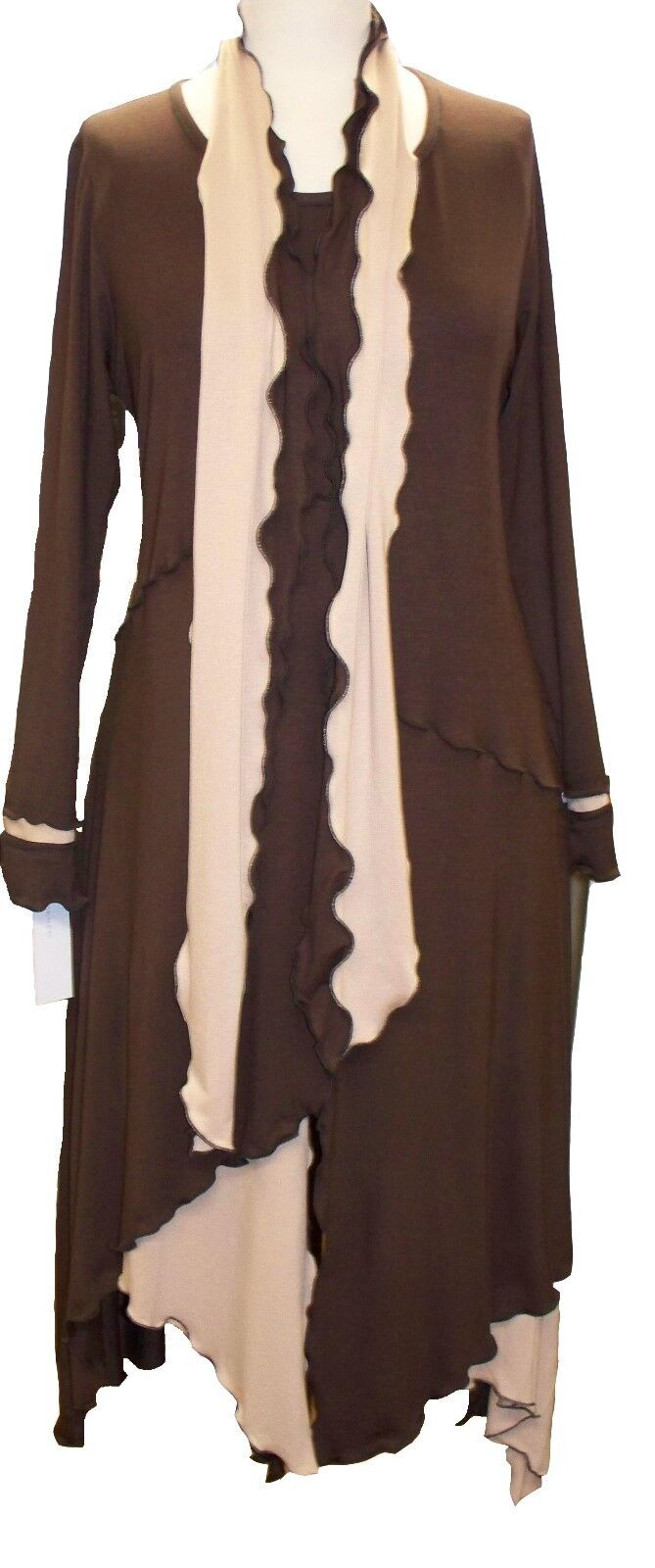 C57 Caroline Ann Quirky Lagenlook braun and Cream long Tunic Top Dress