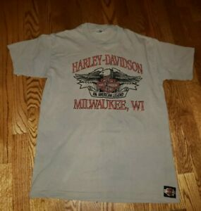 Classic Harley Davidson Vintage Embroidered single Stitch T-Shirt Large TROG