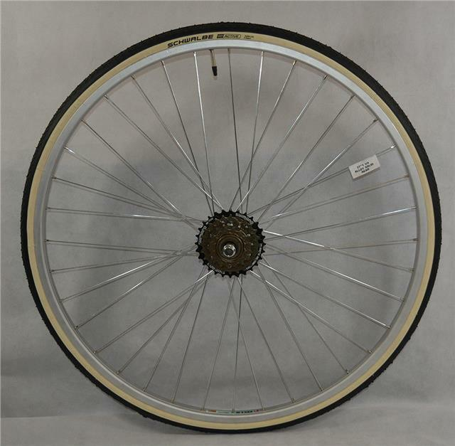 27  x 1 1 4 REAR Bike Wheel + Premium White Wall Tyre & 6 Speed FreeWheel
