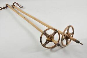 f58k73- Paar alte Skistöcke, ua Bambus, Leder