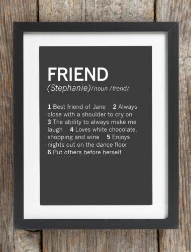 Personalised Friend Description Dictionary Print Gift Bespoke Present Birthday