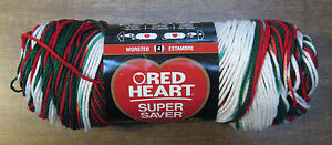 New-Red-Heart-Christmas-Super-Saver-Yarn-5-oz-236-Yd-Ea-Mistletoe-Planned-Pool
