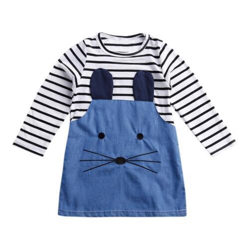 Baby Kids Girls Princess Dresses Mice Printed Stripe Long Sleeve Cotton Clothes