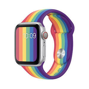For Apple Watch Series 5 4 3 2 1 Silicone Pride Watch Band Strap Rainbow Ebay