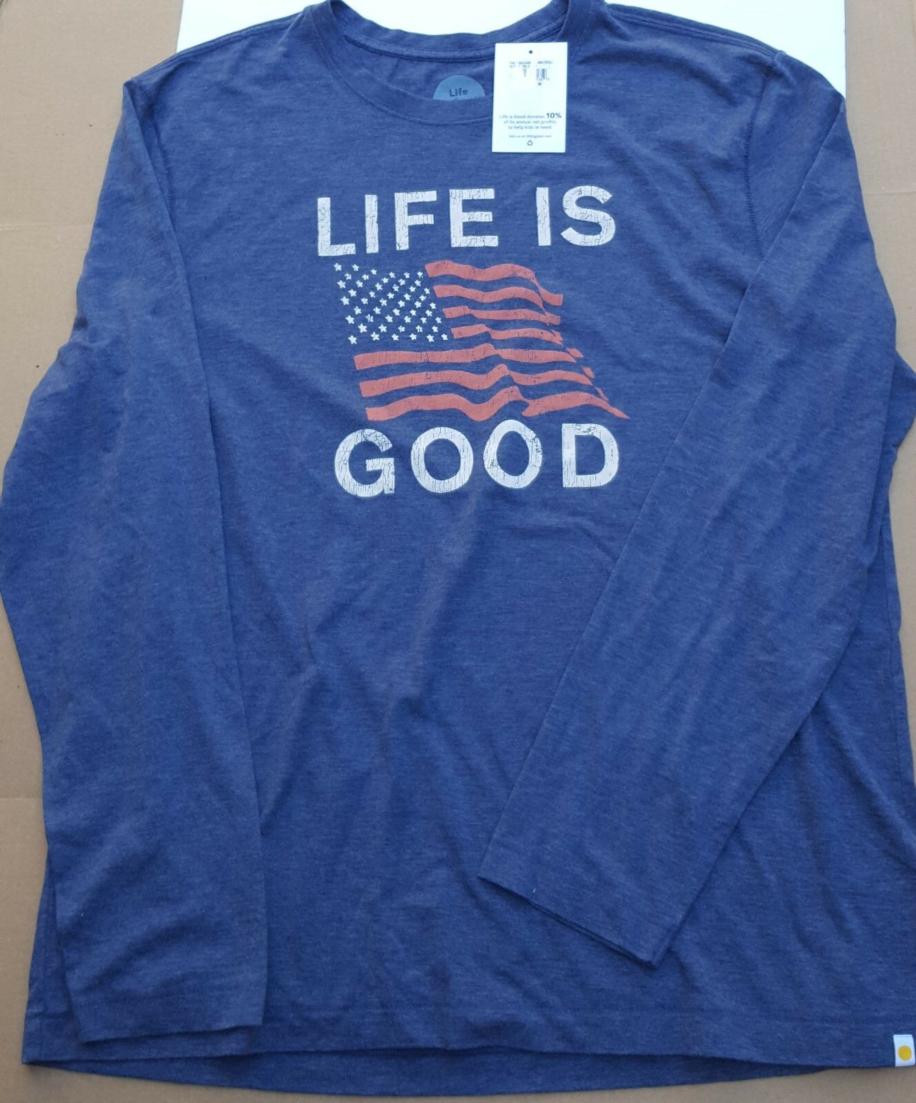 New Life is Good Mens Shirt Long Sleeve Patriot blueee AMERICAN Flag Stars L USA