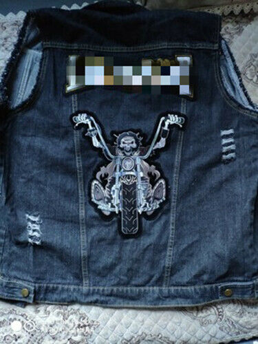 Large Death Rider Skull Iron on Patch Motorcycle Biker Embroidered Applique DIY