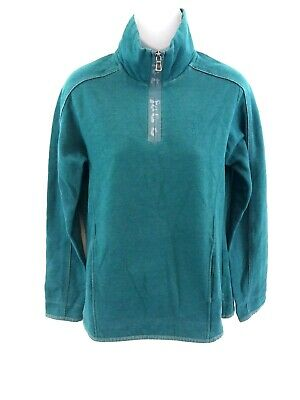 Fat Face Da Donna Maglione Pullover 10 Green Cotton & Poliestere 1/4 Zip-mostra Il Titolo Originale