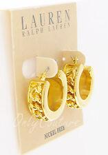 LAUREN Ralph Lauren Frozen Chain Inset 14k Gold-Plated Hoop Huggie Earrings