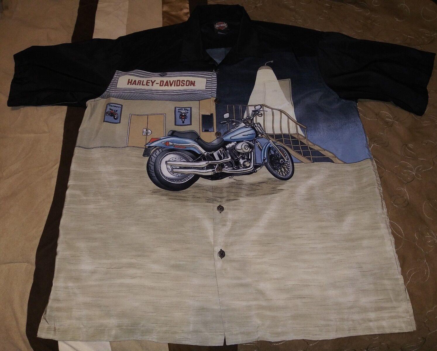 Nice XL Harley-Davidson Button-down Polyester Shirt