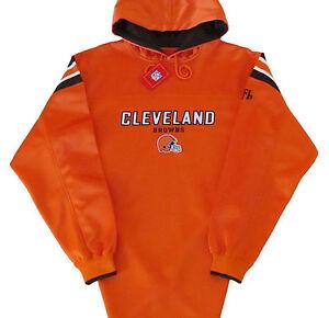 Cleveland-Browns-NFL-Vintage-Logo-Hoodie-Jersey-Orange-Size-Large-NWT