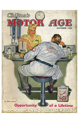 Poster & Bilder Neu Hot Rod Plakat 11x17 Oktober 1950 Motor Alter Mechaniker Diner Kellnerin Offensichtlicher Effekt Accessoires & Fanartikel