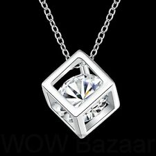 NEW Silver Diamond Crystal in Cube Pendant Free Chain Necklace