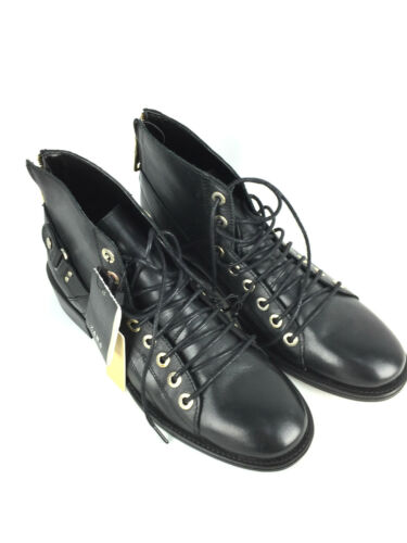 ZARA BLACK LEATHER LACE-UP ANKLE BOOTS SHOES UK7 EUR40 US9 RRP £79.99