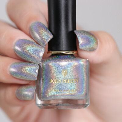 BORN PRETTY 6ml Holographic Nail Polish Silver Glitter Chrome Nail ...