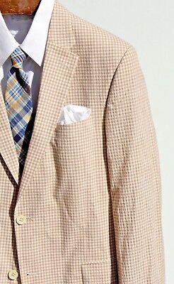 Tommy Hilfiger 42L Trim Fit Tan & White Gingham Check Seersucker Blazer- $275.00